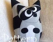 PATTERN - Raccoon Plush Pillow PDF Tutorial and Printable Pattern Bandit the Raccoon DIY