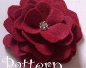 Flower Hair Clip Tutorial -Felt Beaded Rose PDF Hair Clip Pattern Brooch  ebook How To Rose Pattern