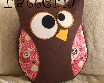 Owl Pattern PDF -Hooter the Owl  Plush Pillow PDF Tutorial How to DIY epattern Halloween