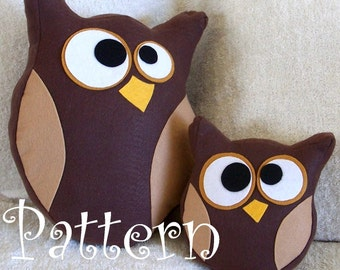 Owl Plush Pattern Set Hooter the Owl Tutorial and Printable Pattern and Bonus Lil Hoot Printable Pattern