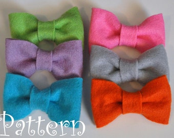 Felt Bow Tie Pattern Tutorial with Printable Templates 3 Bow Styles Included Hair clip, Baby Bow Tie, Baby Bow Headband