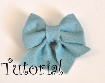 Felt Bow Pattern Tutorial with Printable Templates 6 Bows in 1 Tutorial Brooch Pin, Hair clip, Baby Bow Tie