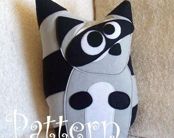PATTERN - Raccoon Plush Pillow PDF Tutorial and Printable Pattern Bandit the Raccoon DIY