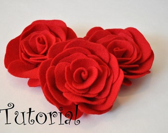 Felt Rose Pattern Felt Flower Pattern Hairclip Headband Brooch Pin Home Decor Accessory PDF ePattern eBook Tutorial How To