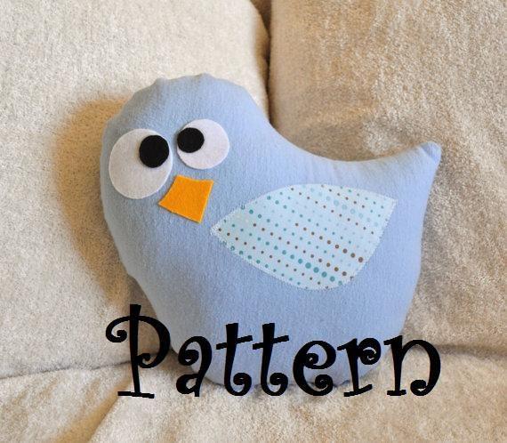 Bird Pillow PDF Tweeter the Bird Plush Pillow Tutorial Printable e pattern e book DIY