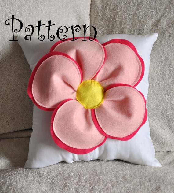Decorative Pillow Pattern Felt Flower Throw Pillow Tutorial PDF