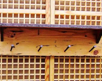 Wood Wall Shelf and Coat Hanger