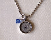 Hand stamped silver bezel initial necklace with birthstone mothers daughters childs bridesmaids personalized