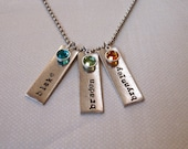 Personalized hand stamped antiqued metal 3 rectangle mothers necklace with birthstones names