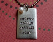 Rectangular antiqued silver metal stamped and personalized necklace perfect for mother's, daughters, anyone.
