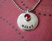 Personalized hand stamped metal mother's necklace with birthstone or freshwater pearl silver child's grandmother's too