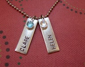 Personalized hand stamped antiqued metal rectangle mothers necklace with birthstones names