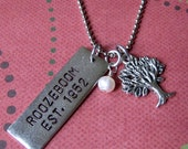 Hand stamped family tree established silver necklace personalized mother's day, grandmother's, wedding gift, name