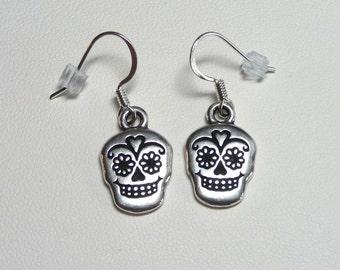 Day of the Dead - Dia de los Muerto - Sugar Skull Earrings - Silver