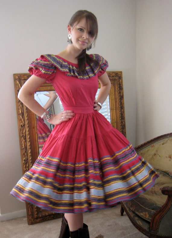 Vintage 50s Mexican Fiesta Dress With A Rich By