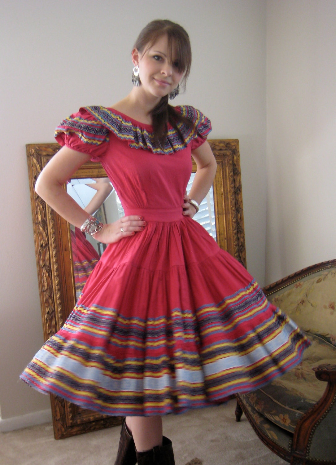 Creative Thoughts On The Fabric The Mexican Dress Midnight Knit Fabric  The Fabric Is Perfect For A Fun Dress At This Tween Stage  Vibrant Yet Playful For The Womens Knot Shirt, I Used A Combination Of The Larchmont Tee Sewing Pattern By Sew