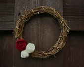 Christmas Holiday Small 6 inch Grapevine Wreath with Felt Flowers