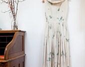 Vintage 1950s Polka Dot Cornflower Day Dress Summer Dress// Sweet Floral Dress