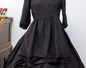 Reserve listing for Terrordoll// Vintage Black Dress//  Wednesday Addams Dress// Full Skirt Dress// Mourning Dress// Downton Abbey