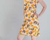 Vintage 1960s Summer Daisies Dress// Brown Gold and Orange Daisy Dress, Vintage Summer Dress