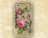 Cottage chic roses Iphone 4 and 4s case,  romantic pink and yellow vintage roses, Iphone 5 case (9752)