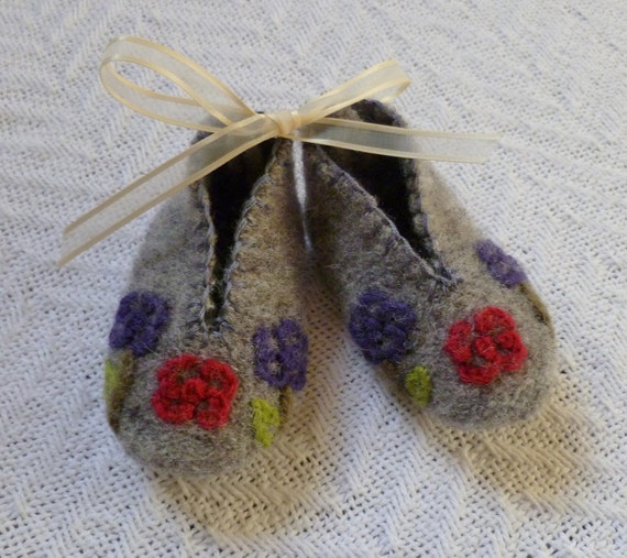 Gray Felted Wool Baby Booties with Red and Purple  Needlepoint Roses