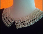 pearls  handmade collar necklace. high quality custom jewelry..