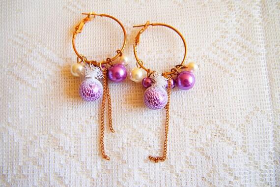 ON SALES - Violet Pearl  - Hoop Earrings with Glass Pearl