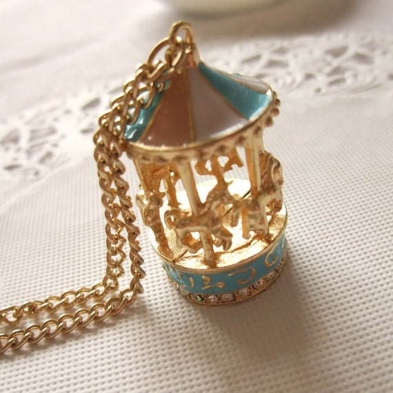 18K Gold Plated Necklace with Merry-Go-Round Pendant