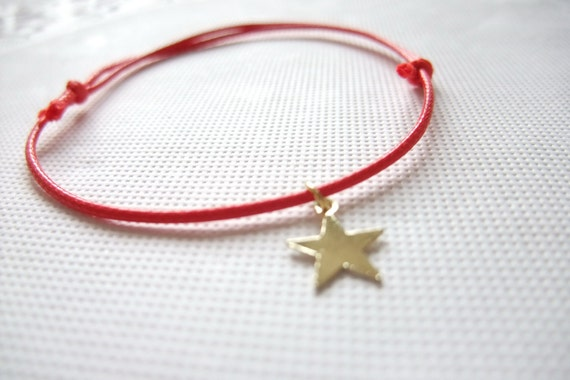 1.99 SPECIAL SALES - Waxed Linen Thread Bracelet with Golden Star