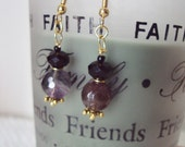 Purple Amethyst & Swarovski Crystal Earrings