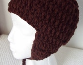Crocheted Earflap Hat - Coffee Colored - Unisex - Child/Teen Size