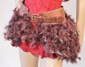 Steampunk Feather & Leather Bustle Skirt