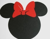 "20 pack -5"" Minnie Mouse ears with a RED bow- DIY Invitations,banners, favor tags, labels, Thank you cards"
