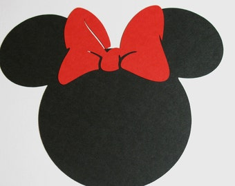 "12 pack -7"" Minnie Mouse ears with a RED bow- DIY Invitations,banners, table decor"