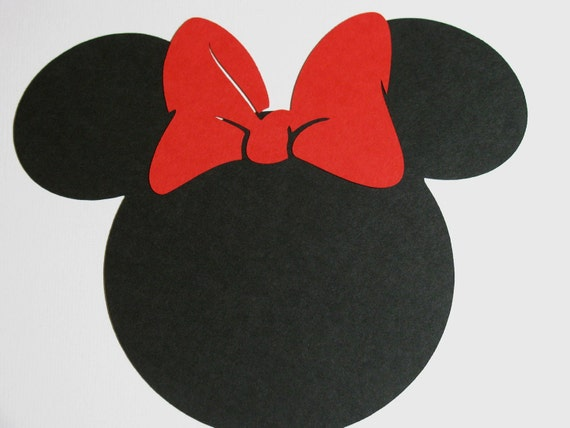 """20 pack -2.5"""" Minnie Mouse ears with a bow- DIY cupcake toppers, favor tags, labels, banners"""