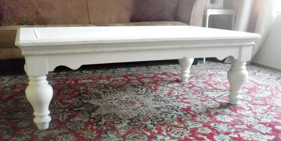 White Shabby Chic Spacious Rectangle Coffee Table, Chunky Legs