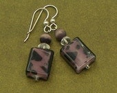 Rectangular Earrings with Purple and Black