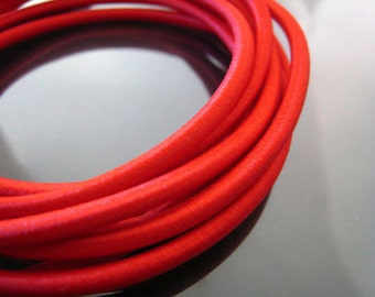 A14 - 5 Yards of 3mm Red Light Siam Round Stretch Elastic Drawcord Rope Cord