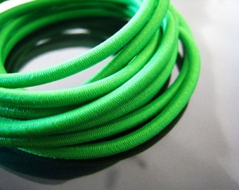 A80 - 5 Yards of 3mm Fern Green Round Stretch Elastic Drawcord Rope Cord