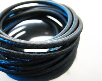 5mm Black Jet Round Stretch Elastic Drawcord Rope Cord ( 1 , 5 or 10 Yards )