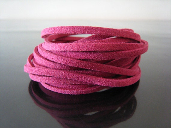 1 Yard of 3mm Pink Flat Suede Lace