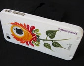 Hand Painted iPhone 4G Case with Orange Flower