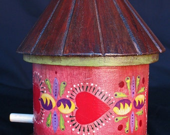 HEARTS OF RED, A Hand Painted,  One-Of-A-Kind Hand Painted Birdhouse, An Original, Collectible Pennsylvania Dutch Design