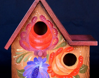 Collectible FLORAL BOUQUET BIRDHOUSE, A Hand Painted, Original One-Of-A-Kind Pennsylvania Dutch Designed Birdhouse With Red Roof