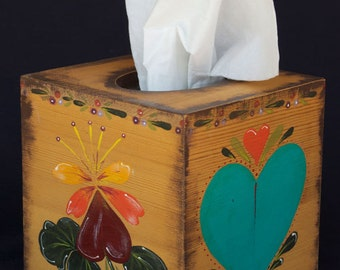 HEARTS OF BLUE Hand Painted Tissue Box in Pennsylvania Dutch Design Using Southwestern Colors of Turquoise and Vermillion