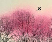 RESERVED for Liz  16 x 20  fine art print of mixed media original pink, trees and flying bird