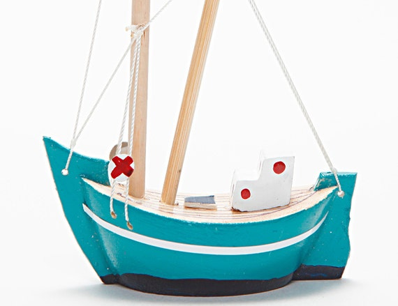Wooden Boat - Fishing Boat - Trawler / Handmade - Hand Painted