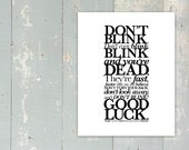 PRINTING ERROR DISCOUNT - Doctor Who - Don't Blink Quote - Tenth Doctor - David Tennant - Fine Art Giclée Print - 11inx14in - White