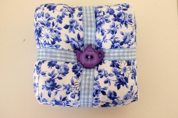 Handmade Blue and White Floral  Square Pincushion